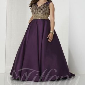 Tiffany Plus Prom Gown with Corset Size 16w Plum